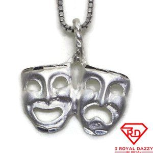 Happy and Sad Mask Pendant 925 Sterling Silver